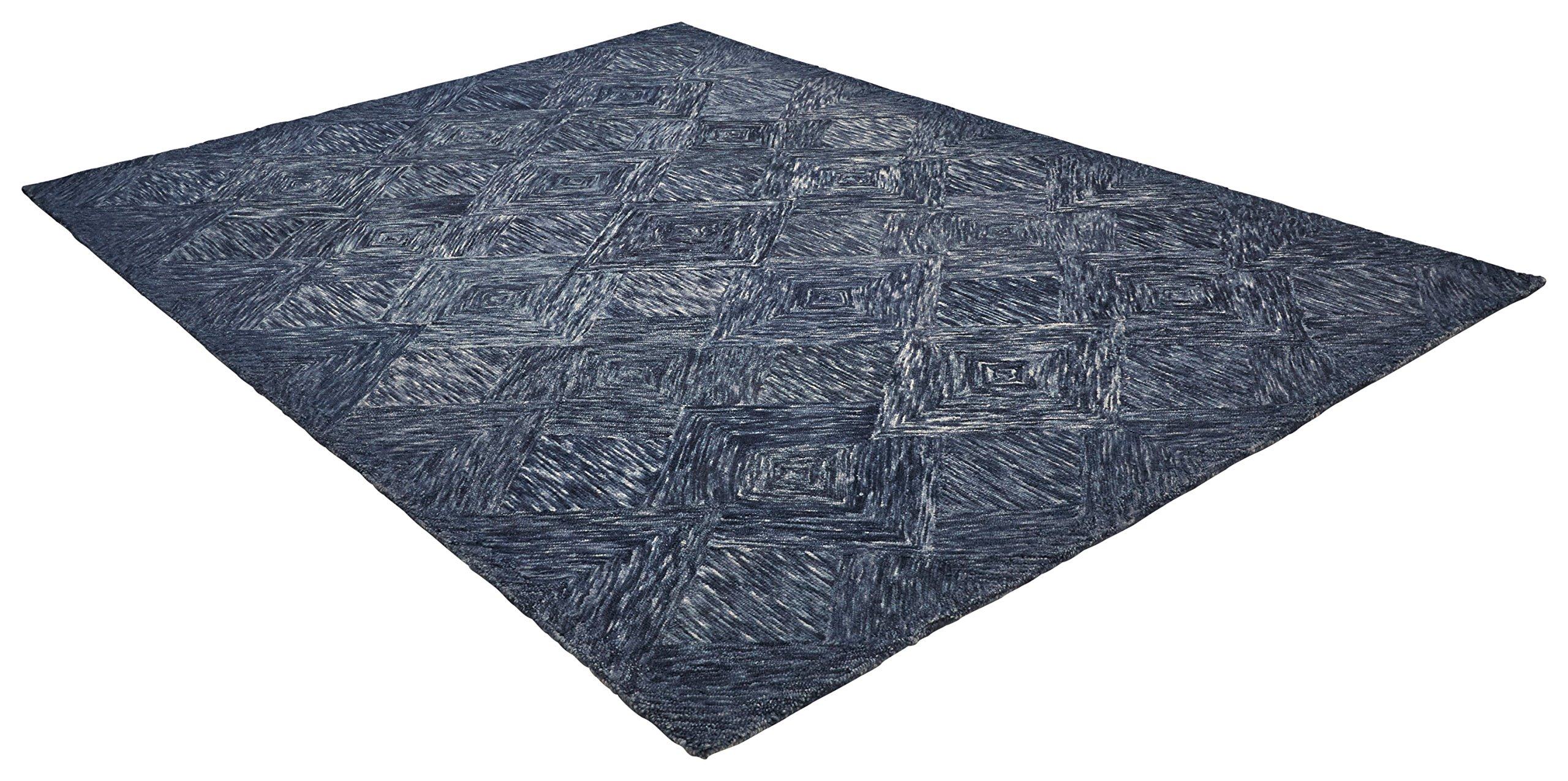 Rivet Motion Patterned Wool Area Rug, 8' x 10'6, Denim Blue by Rivet (Image #4)