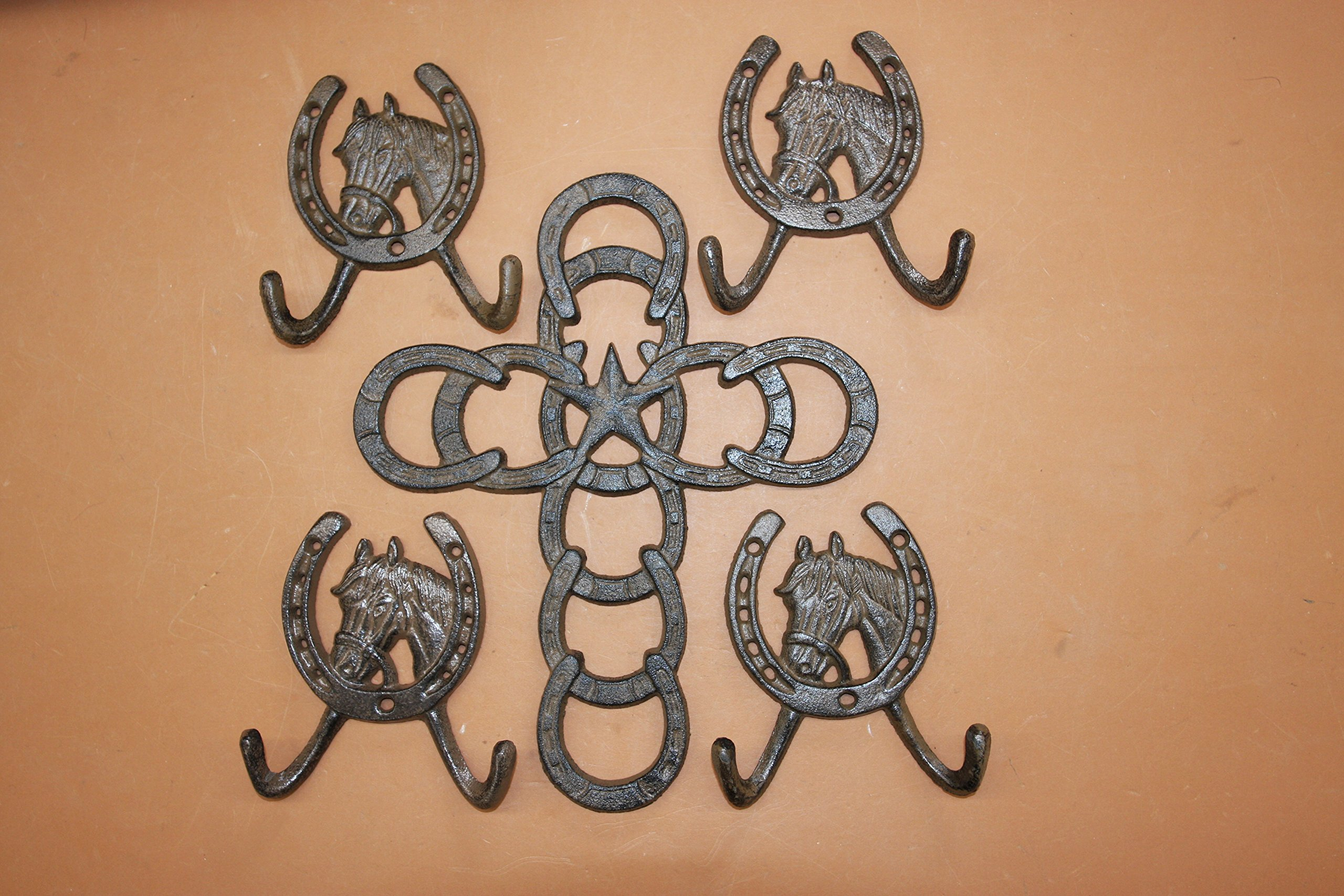 Christian Cowboy Home Decor Gift Set, Texas Lone Star Cast Iron Wall Cross, Country Horse Shoe Wall Hooks Bundle 5 Items