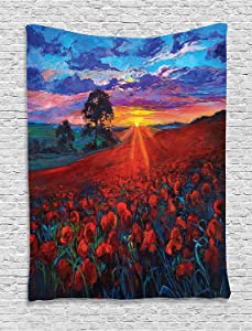Ambesonne Country Tapestry, Scenery of Poppy Flower Garden on Valley with Horizon Fairy Clouds at Sunset Paint, Wall Hanging for Bedroom Living Room Dorm Decor, 40