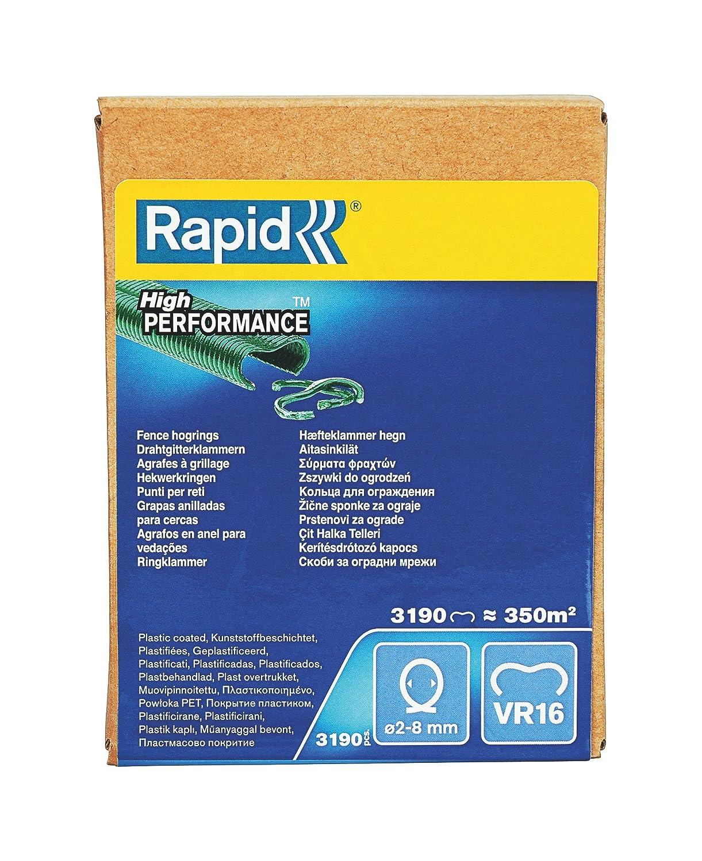Rapid, 40108809, Agrafes de grillage galvanisées vertes, VR16, 2-8 mm, 3190 pièces, Haute qualité