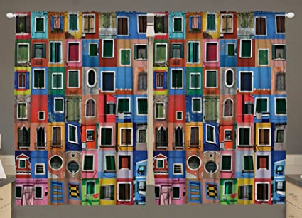 Kitchen Curtains Tuscan Decor Burano Windows Venetian Venice Doors Italy  Italian Island Architecture Tuscan Decorations Artistic