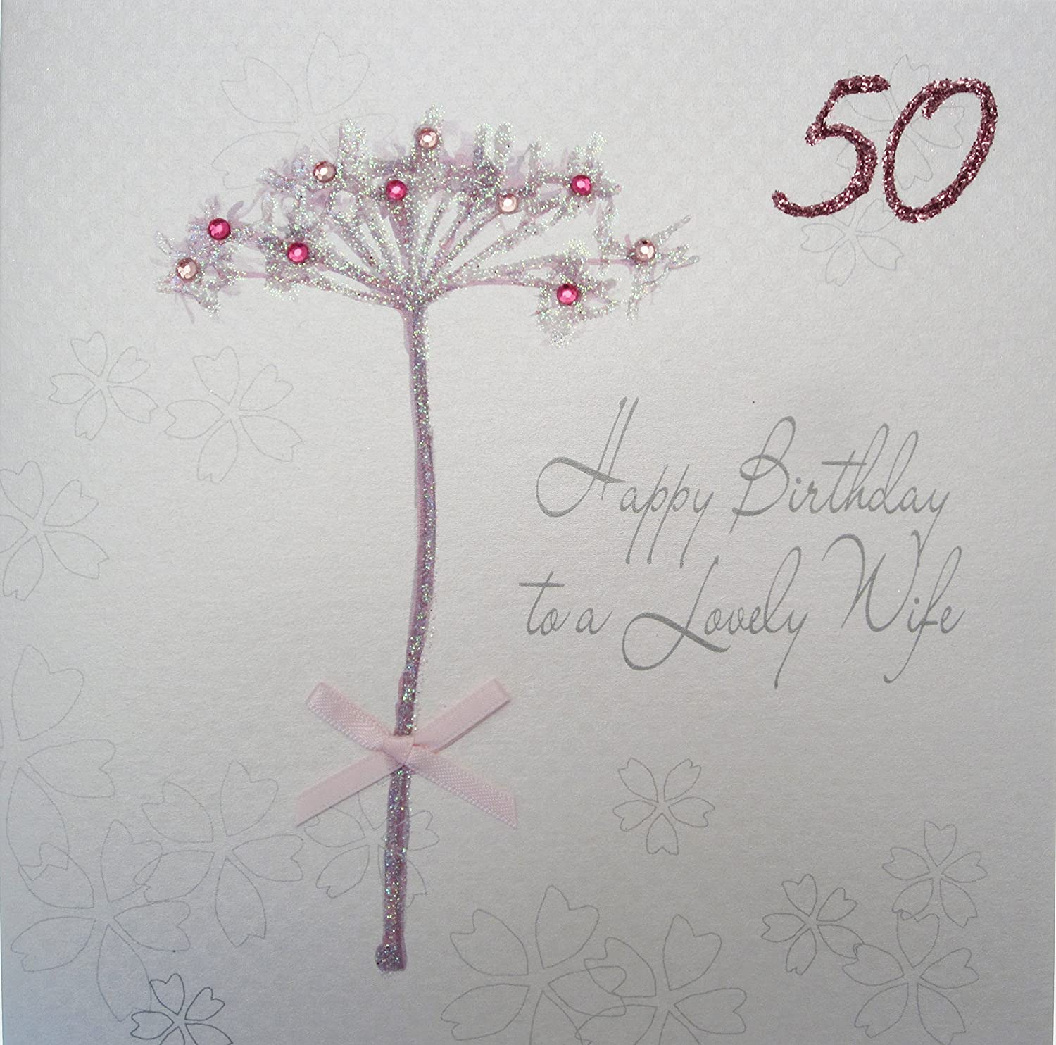 WHITE COTTON CARDS Happy Lovely Wife 50 Handmade 50th Birthday Card Dandelion Amazoncouk Kitchen Home