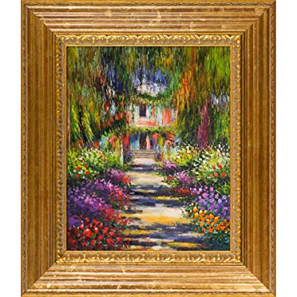 OverstockArt Monet Garden Path At Giverny With Vienna Wood Frame, Gold Leaf  Finish