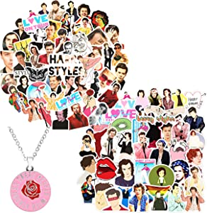 Kilmila Stickers for Singer Harry Style [100PCS] Music Film Vinyl Skateboard Guitar Travel Case Sticker Door Laptop Luggage Car Bike Bicycle Stickers (with Rose Pendant Necklace)