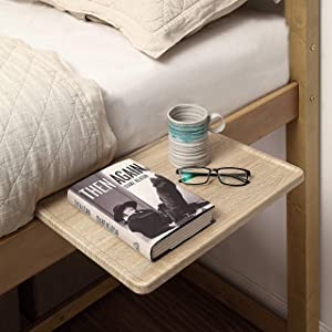 "SunnyPoint Bedside Shelf, Office Divider Shelf; Clamp on Shelf for Bunk Bed, Lofts & Bed Frame, and Office Divider (L -17"" X 11.6"" X 2.3"", Natural Wood)"