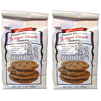 Trader Joe's Gluten Free Ginger Chunk Cookies, 2 Packs