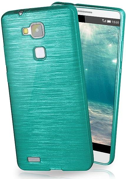 moex Huawei Mate 7 | Hülle Silikon Türkis Brushed Back-Cover TPU Schutzhülle Ultra-Slim Handyhülle für Huawei Ascend Mate 7 C