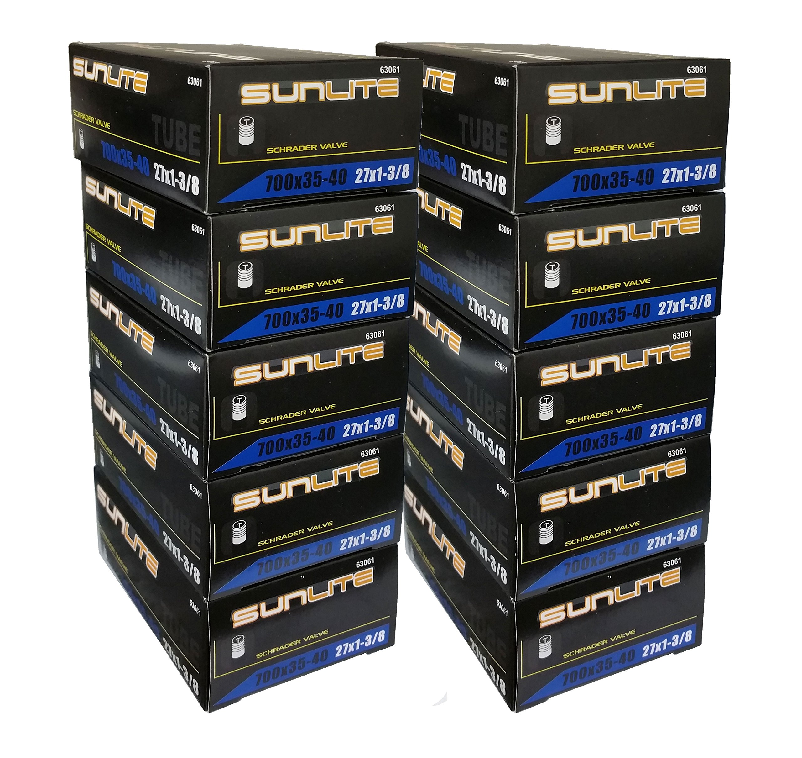 10 PACK SPECIAL - Tube, 700 x 35-40 (27 x 1-3/8) SCHRADER Valve 32mm, Sunlite (10 PACK SPECIAL) by Street Fit 360