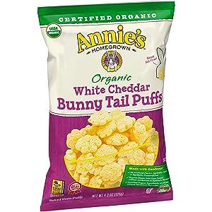 Annie's Organic Bunny Tail Puffs, White Cheddar, 4.3 oz. Bag