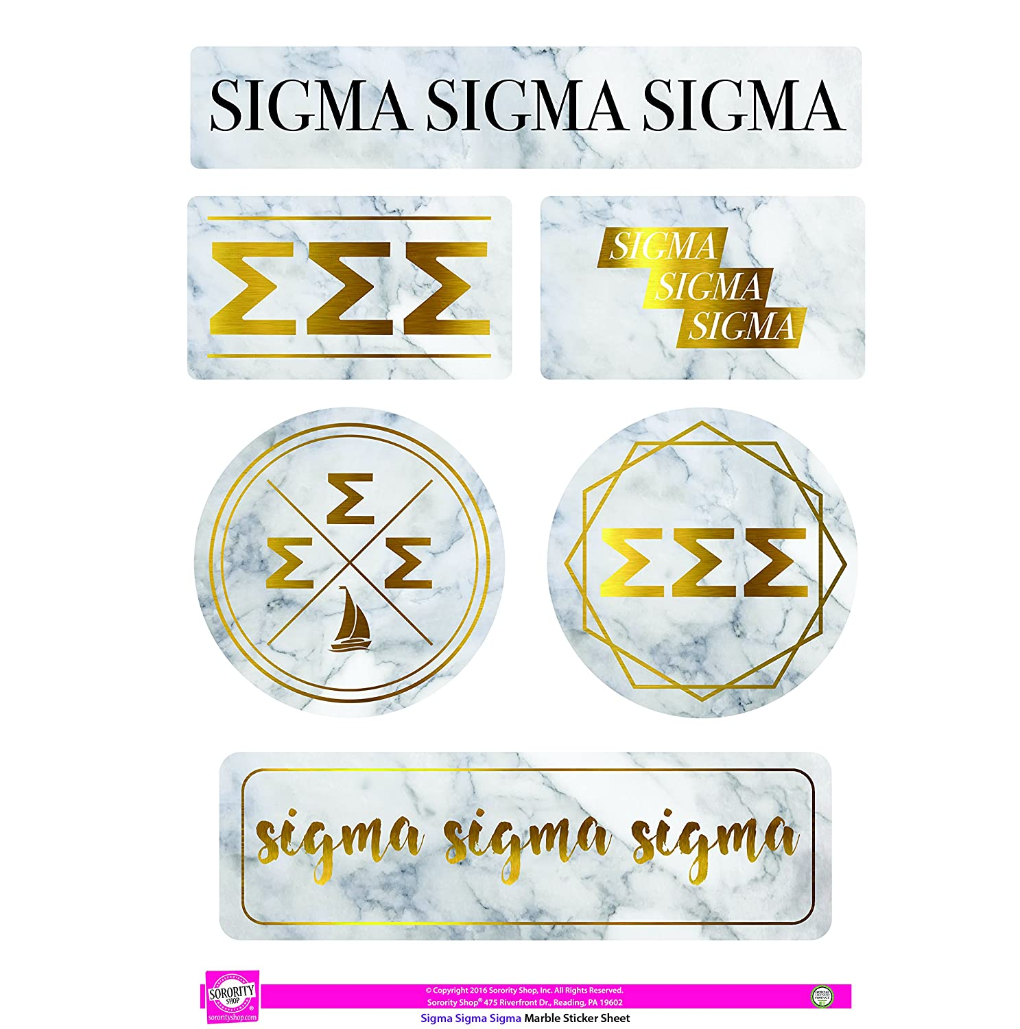 Sigma Sigma Sigma - Sticker Sheet - Marble Theme
