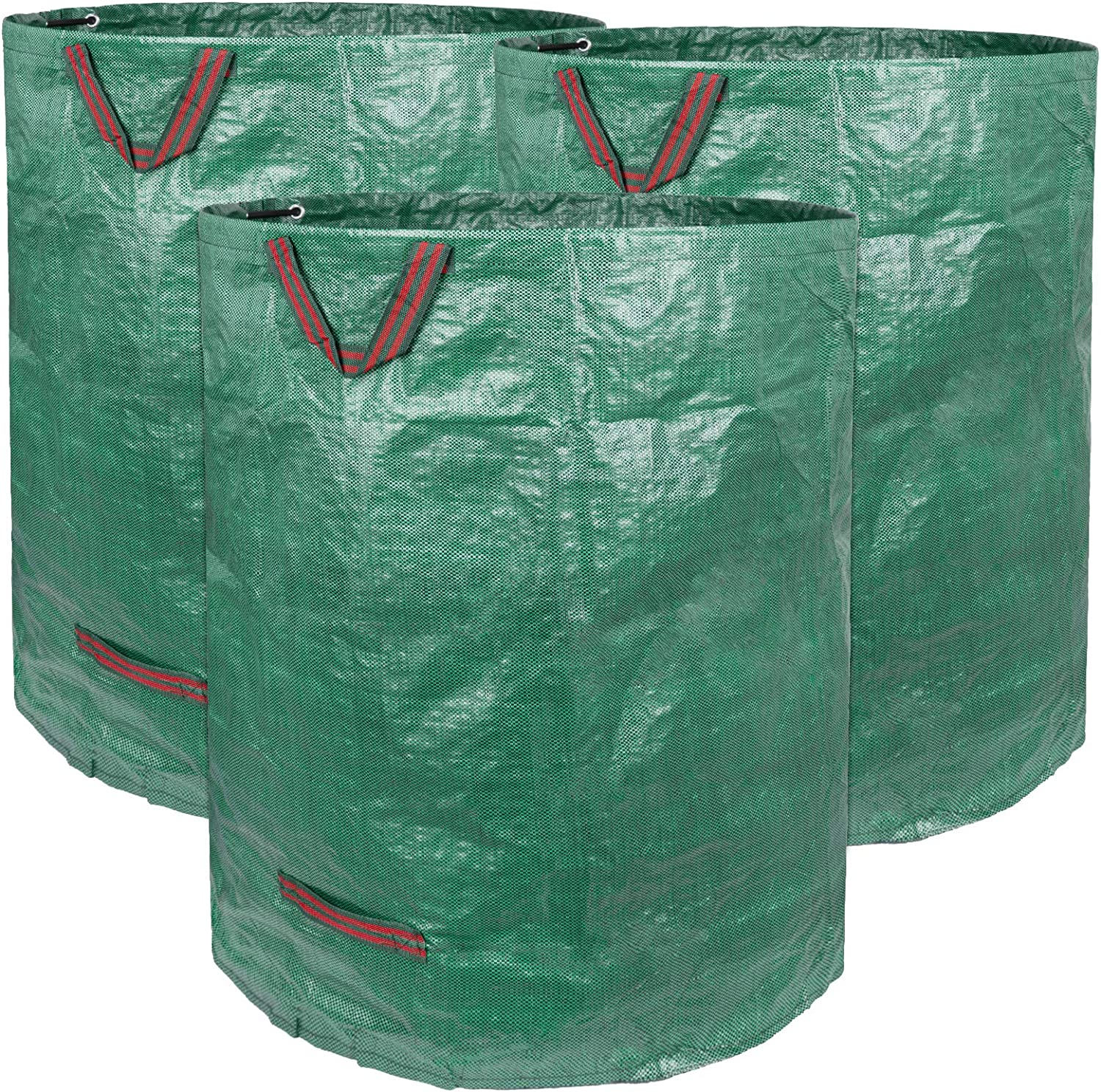 Decorlife 3 Pack 32 Gallons Reusable Garden Waste Bag, Heavy Duty Yard Waste Bag with Dual Handles and Double Bottom Layers, Reusable Garden Leaf Bag for Collecting Leaves Grass Clippings Yard Debris