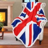 "Catalonia Sherpa Fleece Blanket,UK England National Flag Print Patriotic Plush Super Soft Warm Reversible Polar Throws for Couch Bed 60"" x 50"""