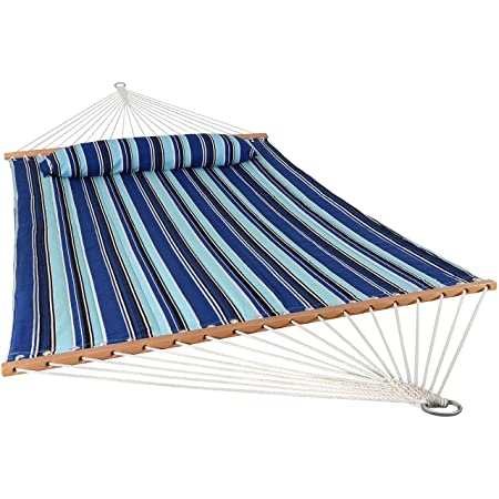 Sunnydaze 2 Person Double Hammock with Spreader Bar, Quilted Fabric Bed – for Outdoor Patio, Porch, and Yard Catalina Beach