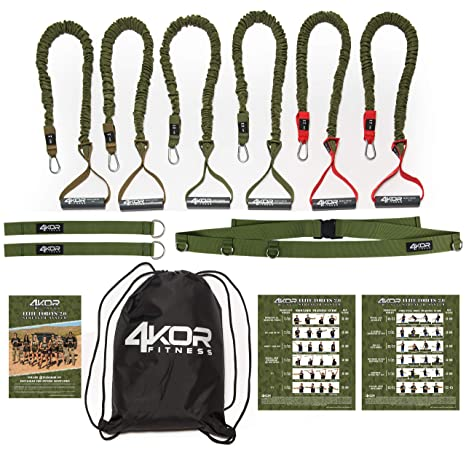 5a8dfa6dcad Buy Resistance Cord Set by 4KOR Fitness Strength and Performance System (3  Levels w Door Strap) Online at Low Prices in India - Amazon.in