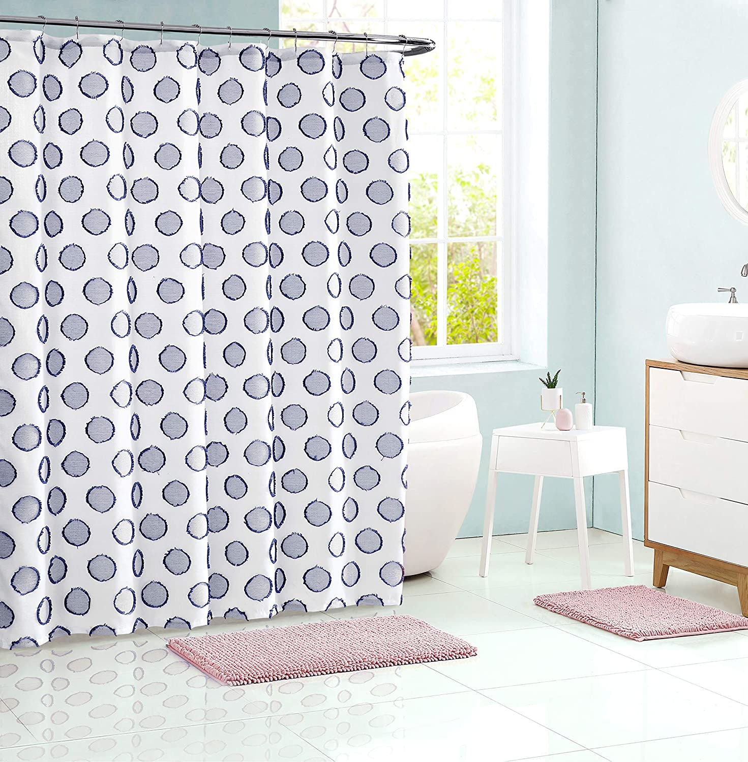 Fabric Shower Curtain Clipped Textured Geometric Cyclo Pattern - Clip Jac, Navy: Kitchen & Dining