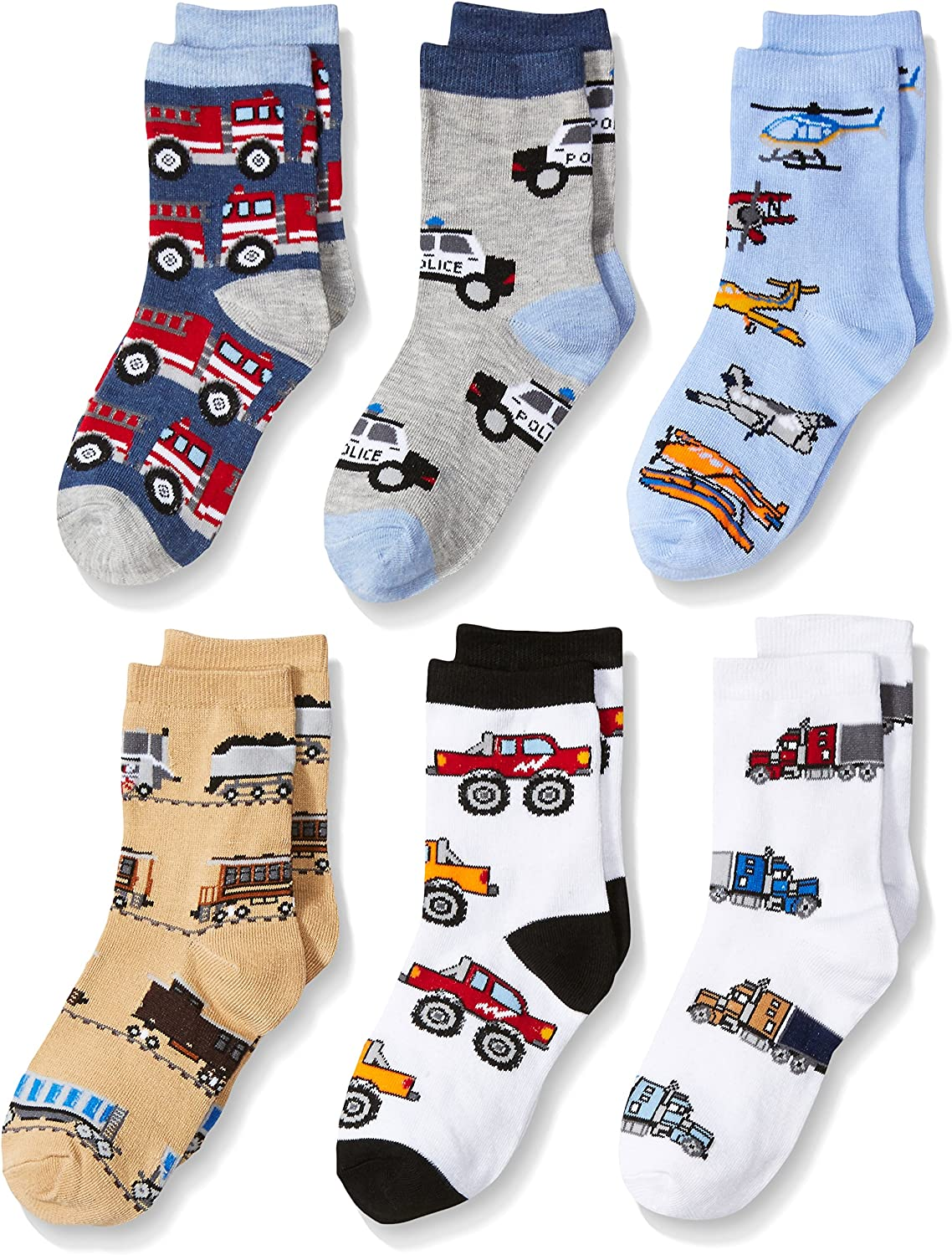 Jefferies Socks Little Boys Trains Trucks Cars Pattern Crew Socks 6 Pack, Multi: Clothing