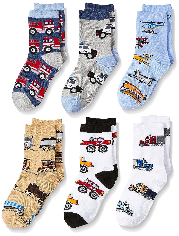 Jefferies Socks Boys' Little Trains/Trucks/Cars Pattern Crew 6 Pack 1182