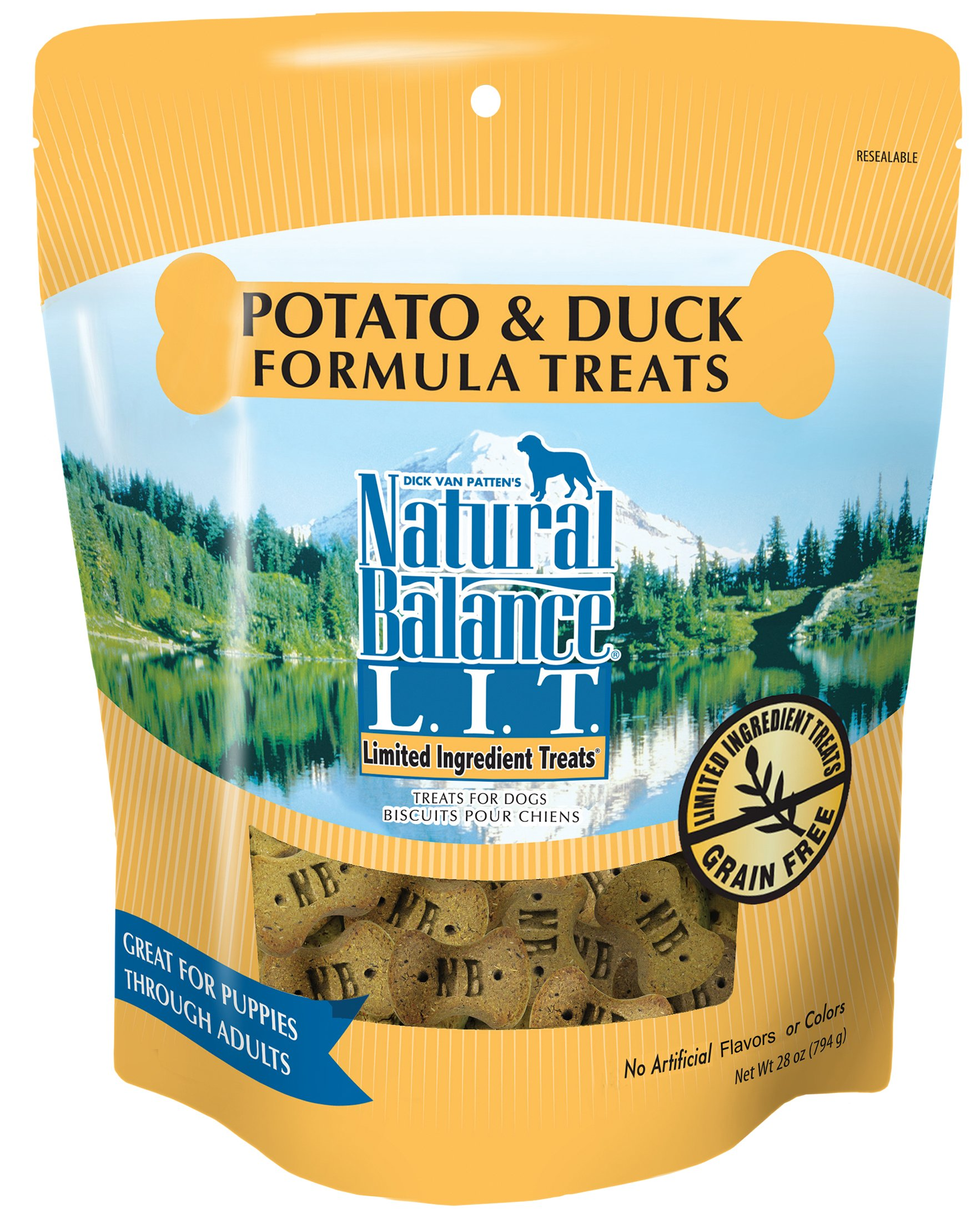 Natural Balance L.I.T. Limited Ingredient Dog Treats, Grain Free, Potato & Duck Formula, 28-Ounce