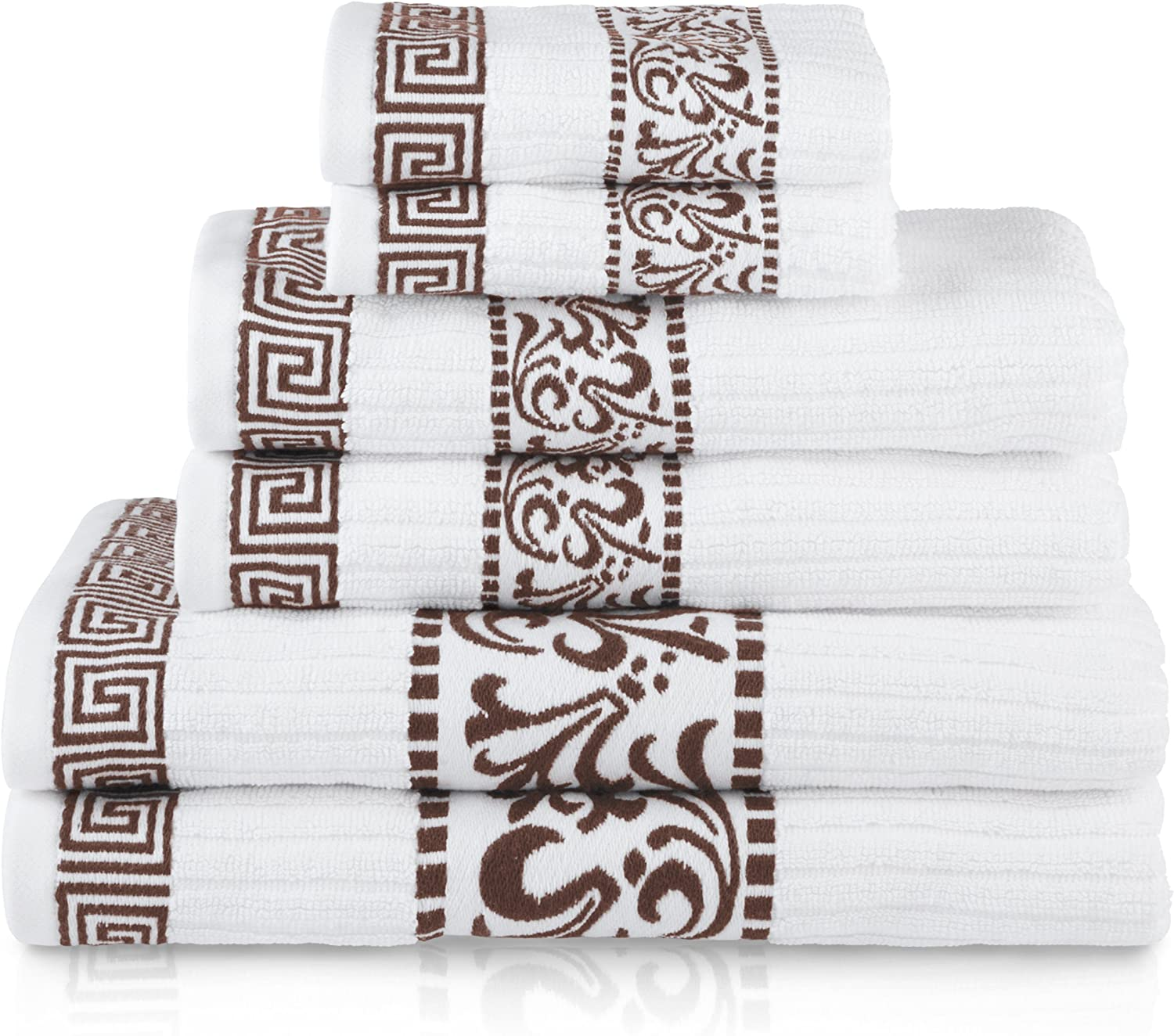 Superior Athens 100% Cotton, Soft, Extremely Absorbent, Beautiful 6 Piece Towel Set, Chocolate