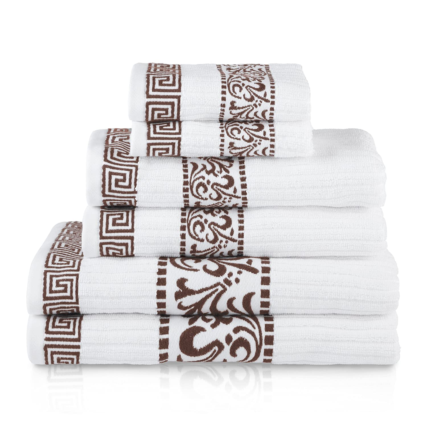 Soft Beautiful 6 Piece Towel Set Chocolate Superior Athens 100/% Cotton Extremely Absorbent