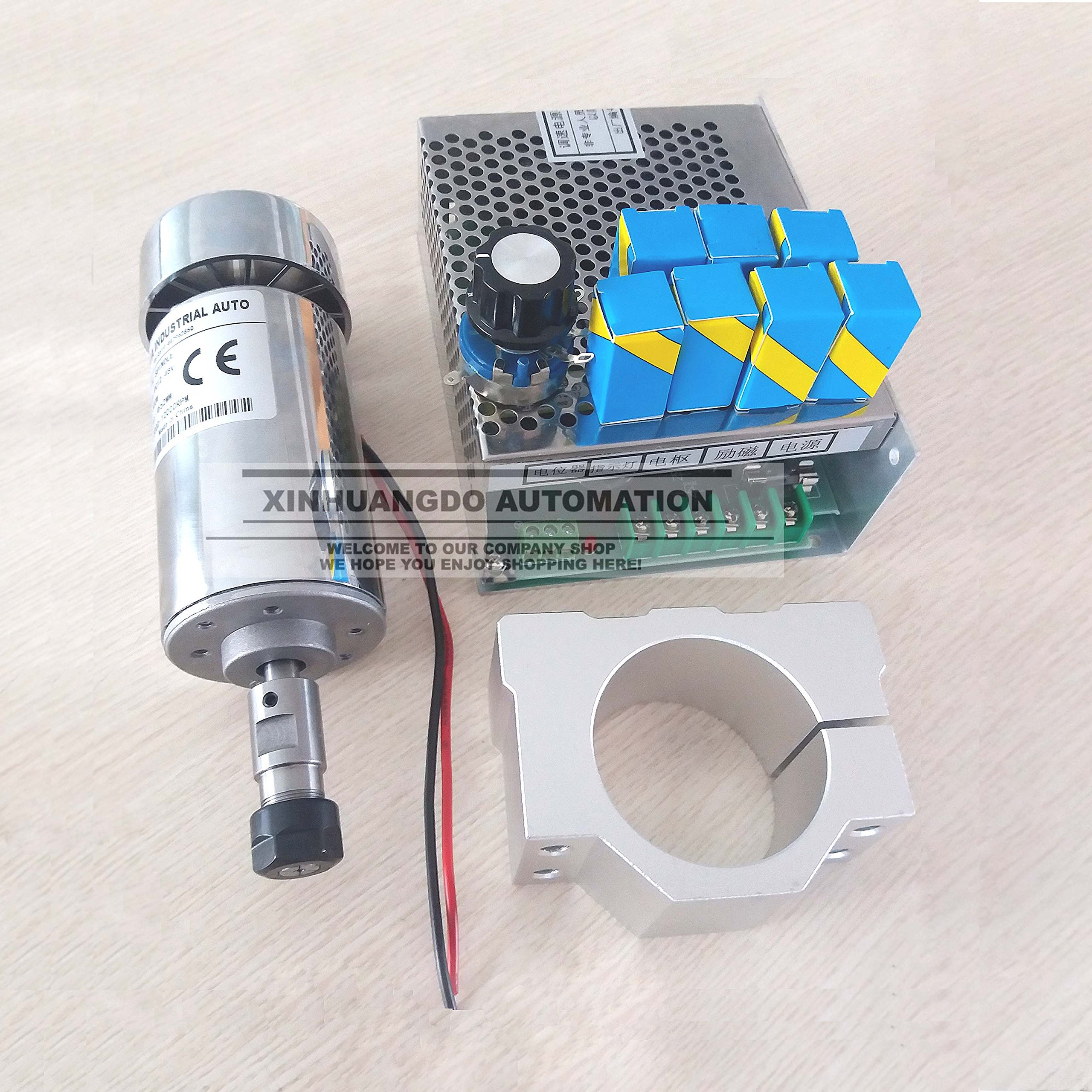 cnc spindle 300W air cooled milling Motor & spindle speed power converter &52mm clamp &7pcs er11 collet for DIY engraving