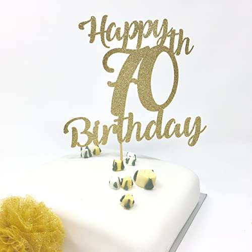 Happy 70th Birthday Cake Topper Gold Shinny Decoration