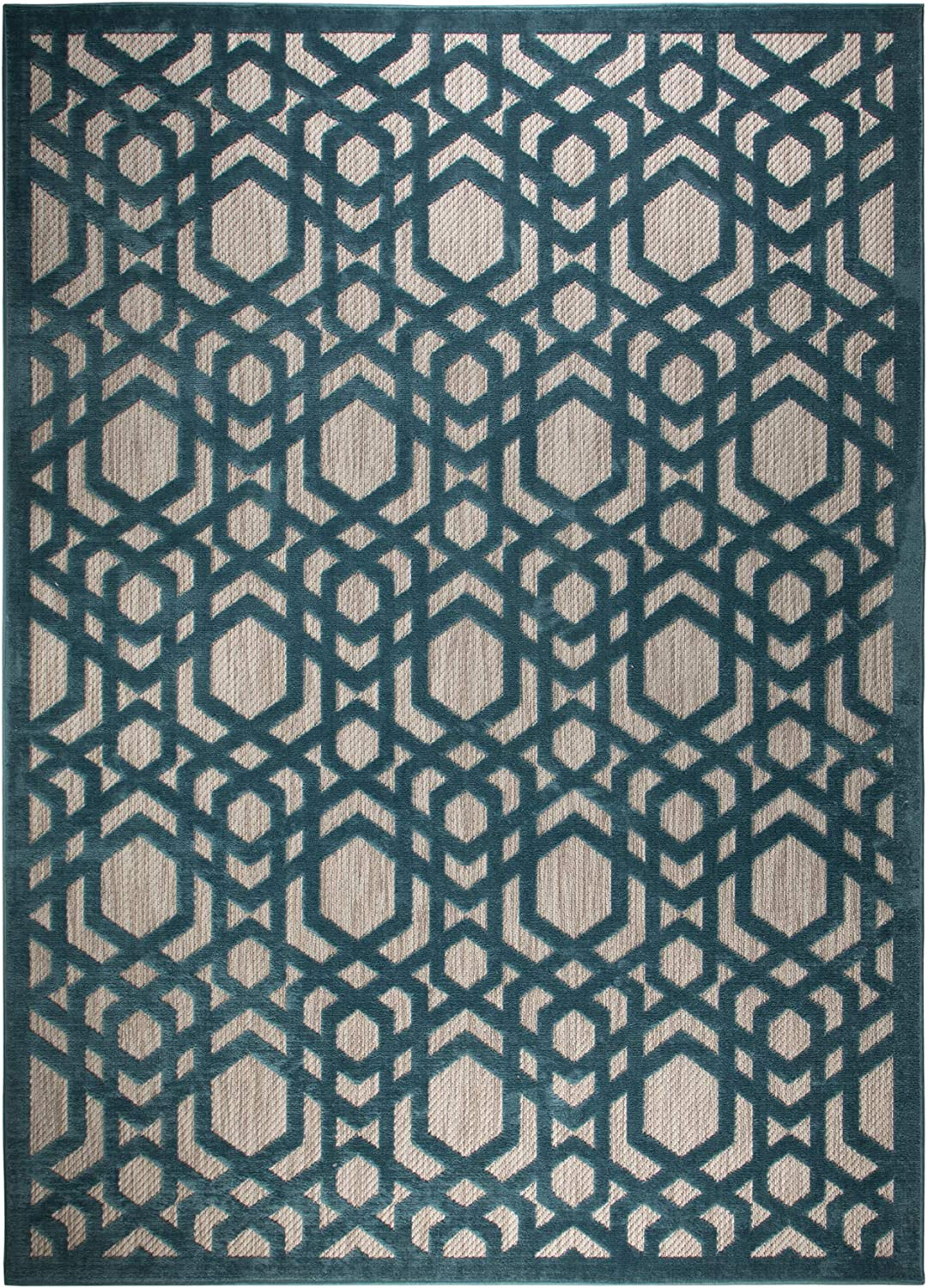 2x77 Lord of Rugs Piatto Oro Blue Geometric Flatweave Outdoor and Indoor Rug Home Carpet and Runner Runner 60x230 cm