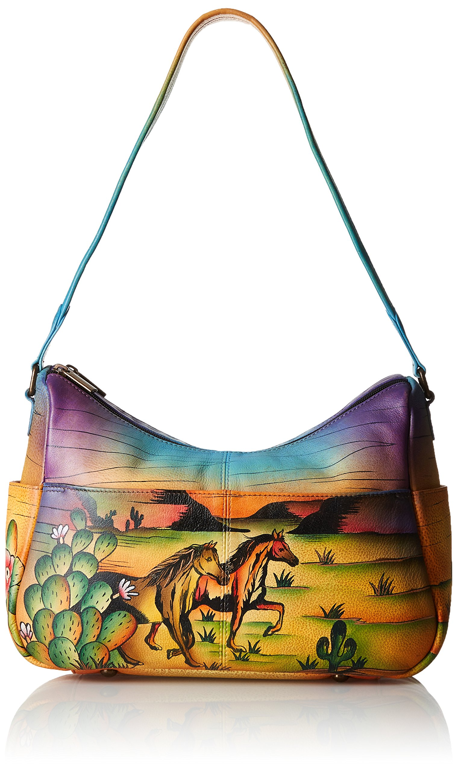 Anuschka Handpainted Leather Twin Top East West Hobo, Arizona Mustang