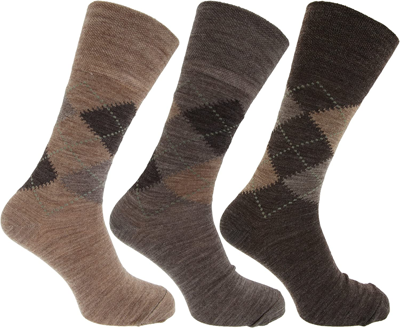6 pairs mens non elastic top wool blend socks