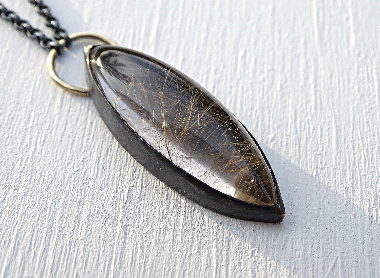 adjustable silver necklace rutile quartz with princess border Rutile quartz necklace with handsawn leaf adjustable leaf necklace