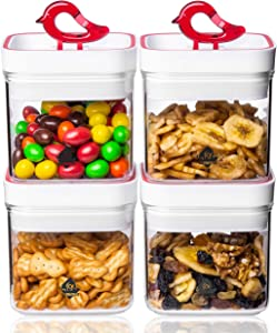 LISA ENJOYMENT Snacks Storage Containers 4PCS with Special Vacuum Sealed Lids Airtight Food Storage Container Set BPA Free & Leak Proof Kitchen & Pantry Organization Dry Food Containers