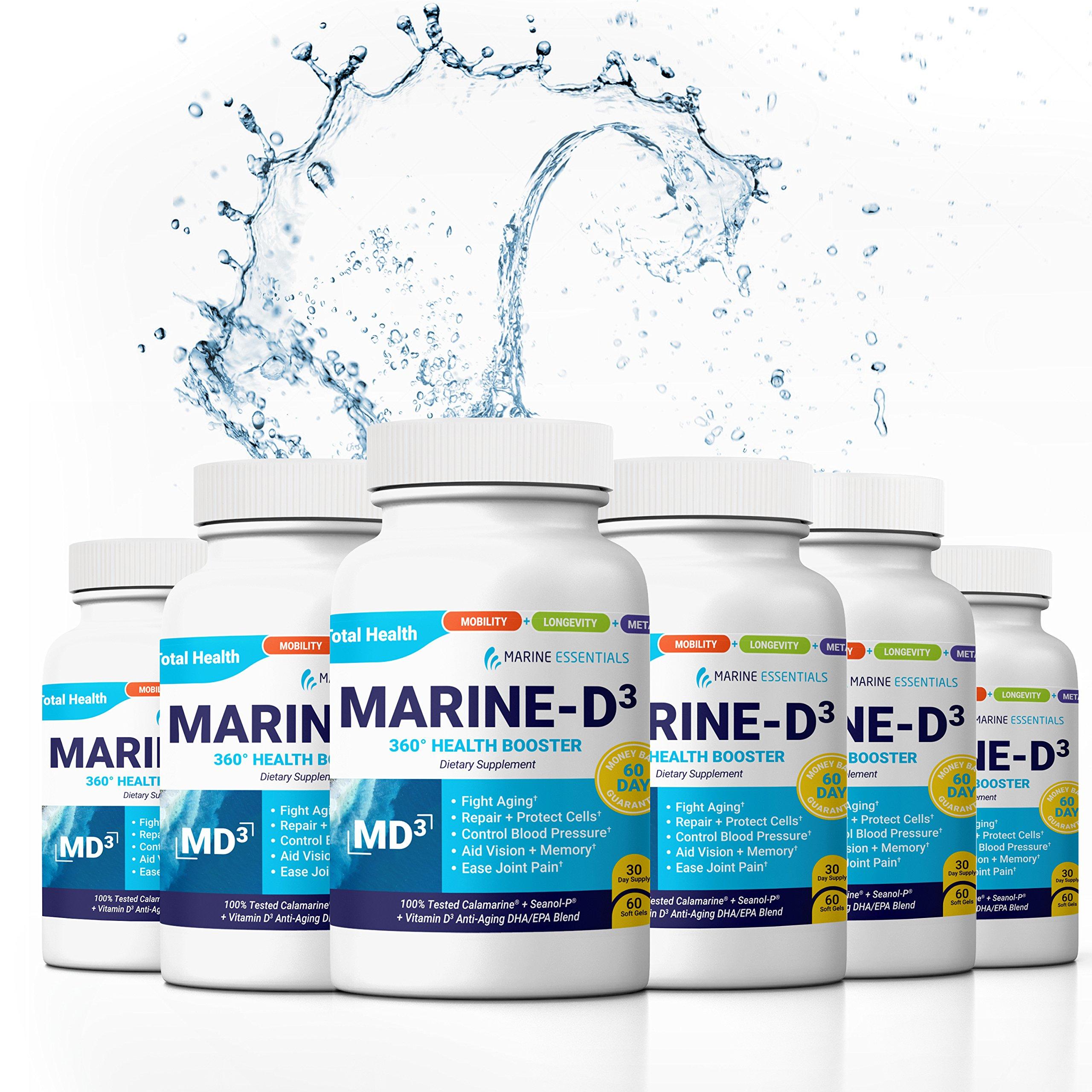 Marine Essentials Vitamin D3 Omega 3 Fish Oil - ''Marine-D3'' 340mg Vitamin D3 DHA Anti Aging Omega 3 Fish Oil Dietary Supplement (360 Capsules) by Marine Essentials