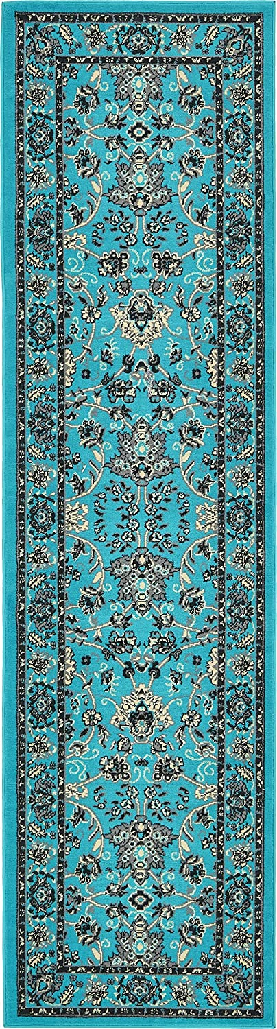 Unique Loom Kashan Collection Traditional Floral Overall Pattern with Border Turquoise Runner Rug (2' 7 x 10' 0)