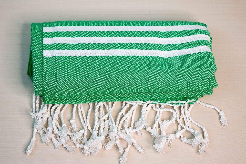 BRDPro 100%コットン ペシテマル トルコ バスタオル 39 1/2 x 70 39 1/2 x 70 inches グリーン B07NKWPQ1G Green White Stripes