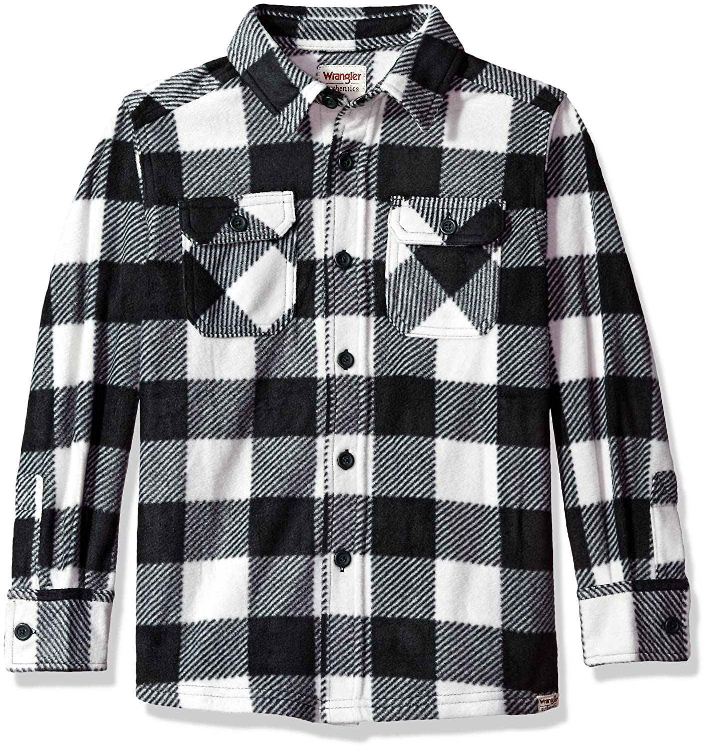 Wrangler Authentics Boys Authentics Long-Sleeve Buffalo Plaid Fleece Shirt ZB1LF