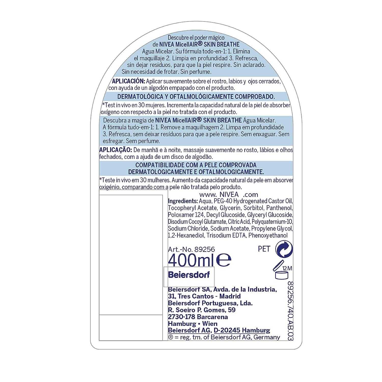 NIVEA MicellAir Skin Breathe, agua micelar desmaquillante, desmaquillador de ojos, rostro y labios, limpieza facial para piel normal, pack de 6: Amazon.es: ...