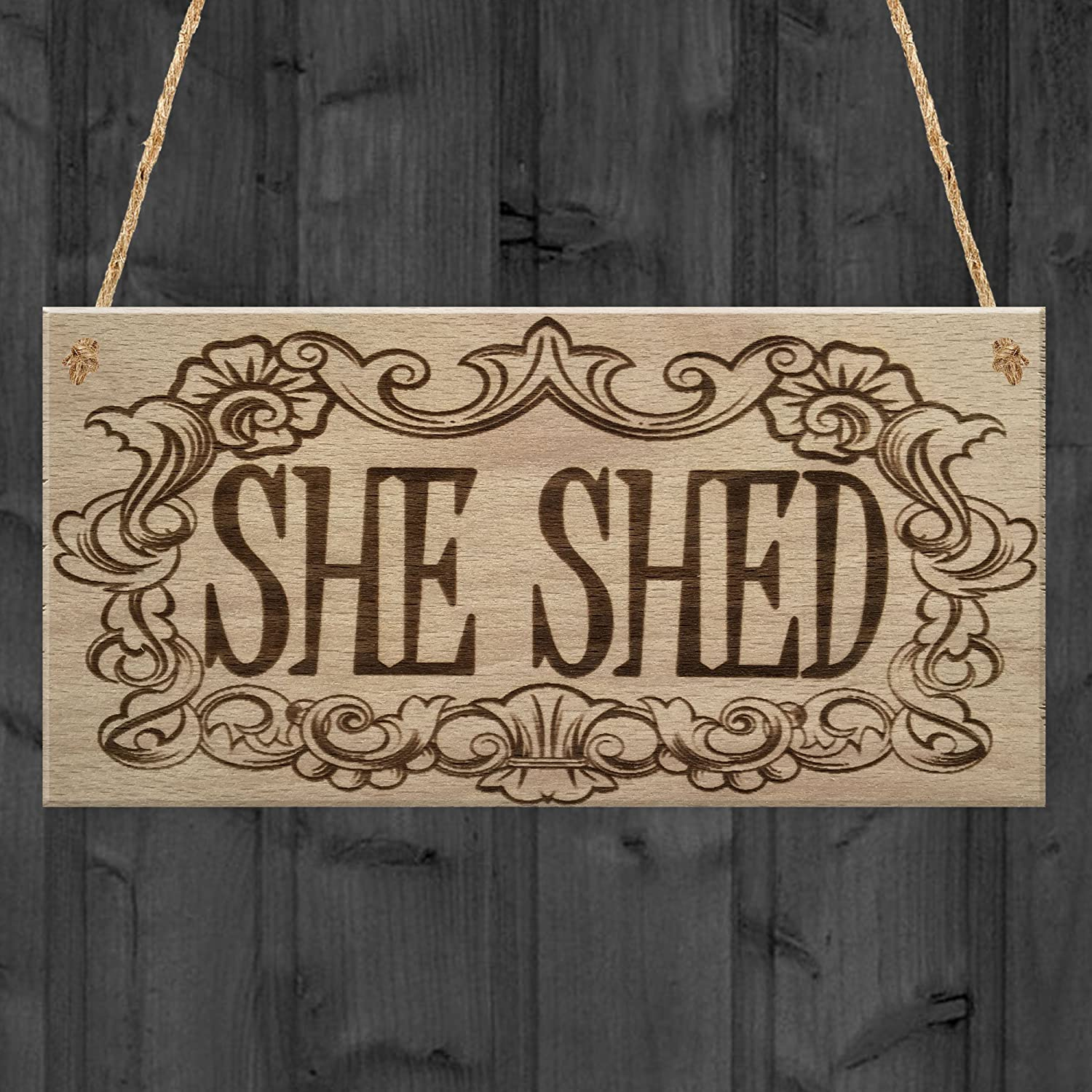 XLD Store She Shed Woman Cave Hanging Home Door Wood Sign 6