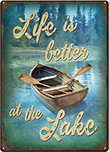 Retro Vintage Life Better at Lake Metal Tin Sign Home Bar Cafe Retaurant Wall Decor Signs 12x8inch