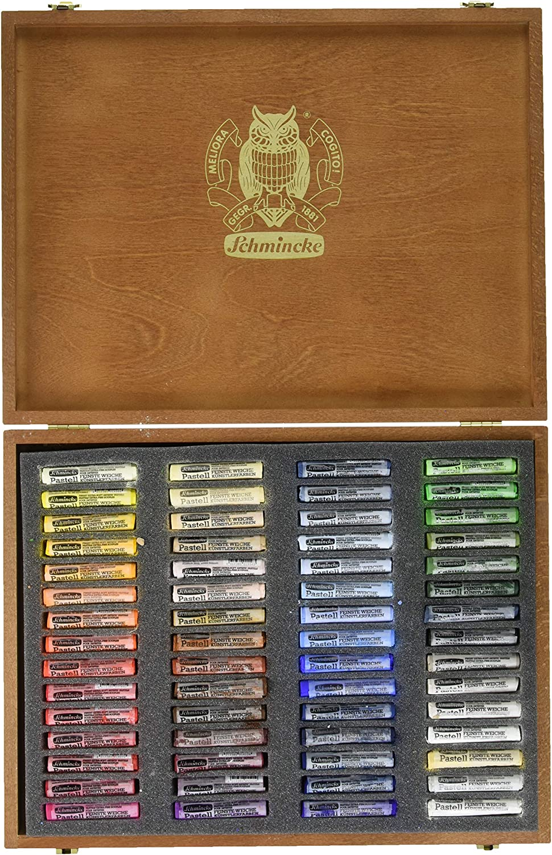 Schmincke Finest Extra-Soft Artist Pastels Set of 100 in a Wood Box