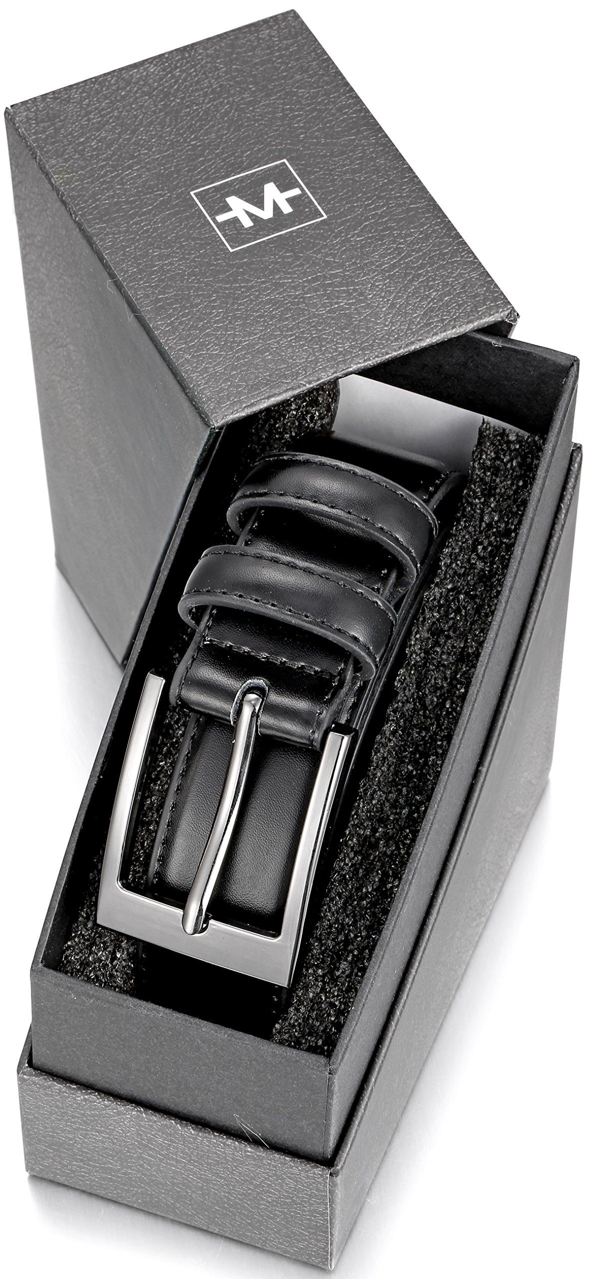 Marino's Men Genuine Leather Dress Belt with Single Prong Buckle - Black - 36 by Marino Avenue (Image #6)