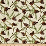 Christmas in the Wildwood Pinecones Tan Fabric By The Yard