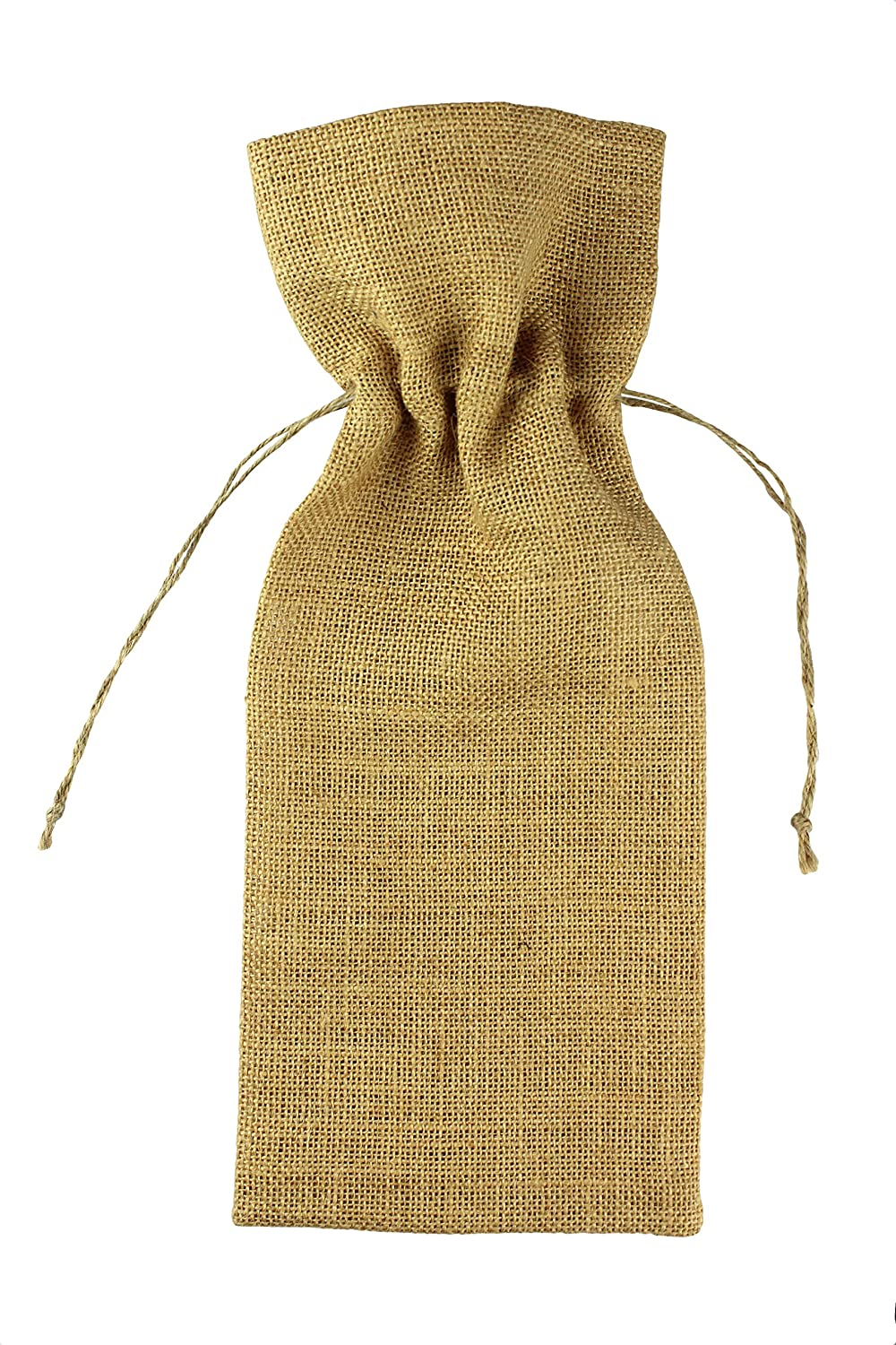 COTTON CRAFT 12 Pack Jute Burlap Wine Bag Set Wrap Your Wine in The Rustic and Natural Style of Natural Jute Burlap Natural