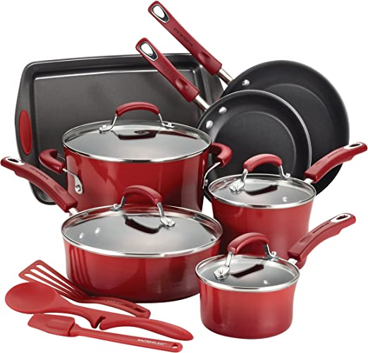 Rachael Ray Brights Nonstick Cookware Set / Pots and Pans Set - 14 Piece, Red Gradient