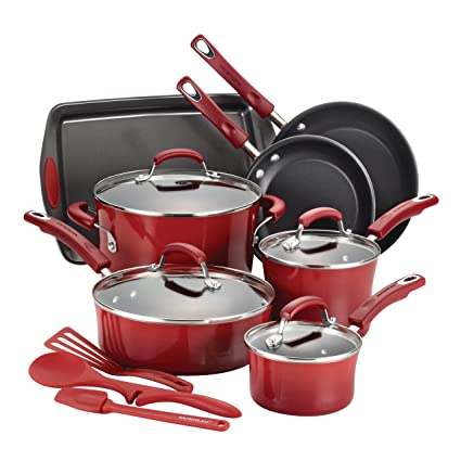Rachael Ray 14 Piece Hard Enamel Nonstick Cookware Set Red 16223