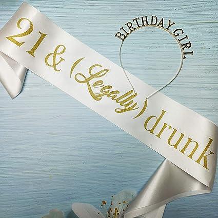 BIRTHDAY SASH 21 /& Legally Drunk Satin Sashes 21st Birthday Party Decor