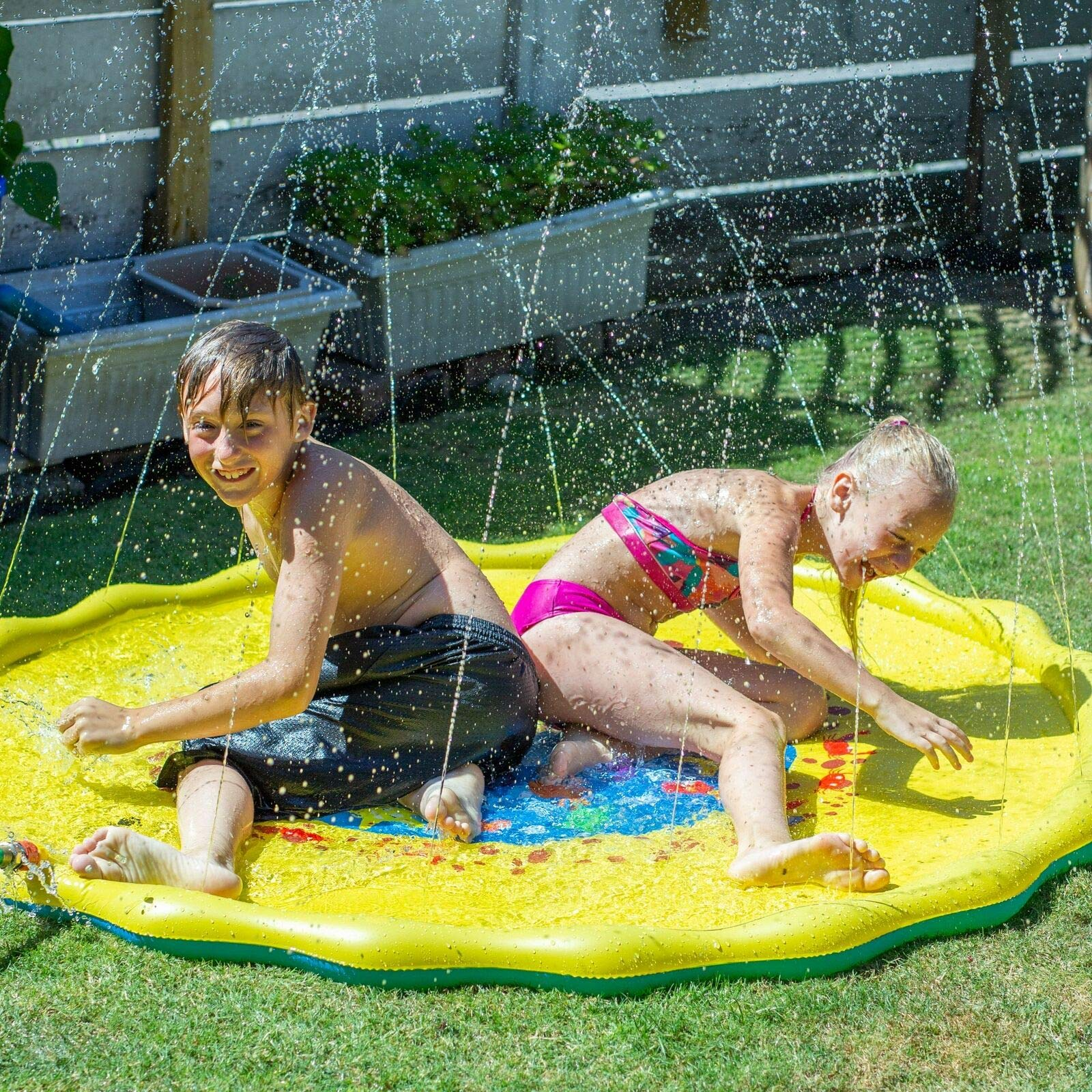 Candywe Splash Pad Kids Toys, 68'' Sprinkle and Splash Play Mat Pad Toy for Children Infants Toddlers Boys Girls and Kids,Water Toys for Summer Fun Backyard Water Play Mat Outside Toys for Kids by Candywe (Image #7)