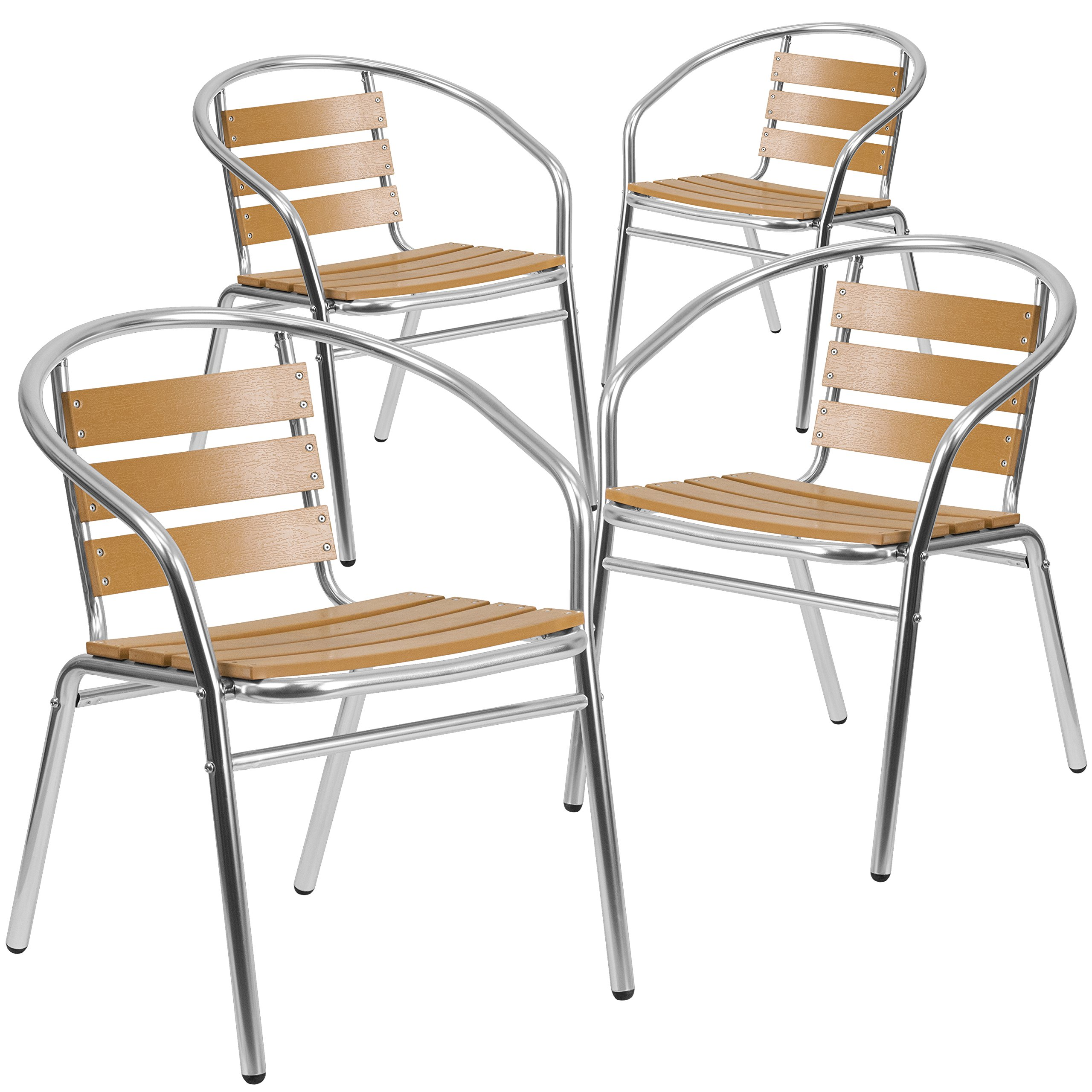 Flash Furniture 4 Pk. Commercial Aluminum Indoor-Outdoor Restaurant Stack Chair with Triple Slat Faux Teak Back