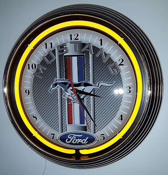 Reloj de pared neón ford mustang