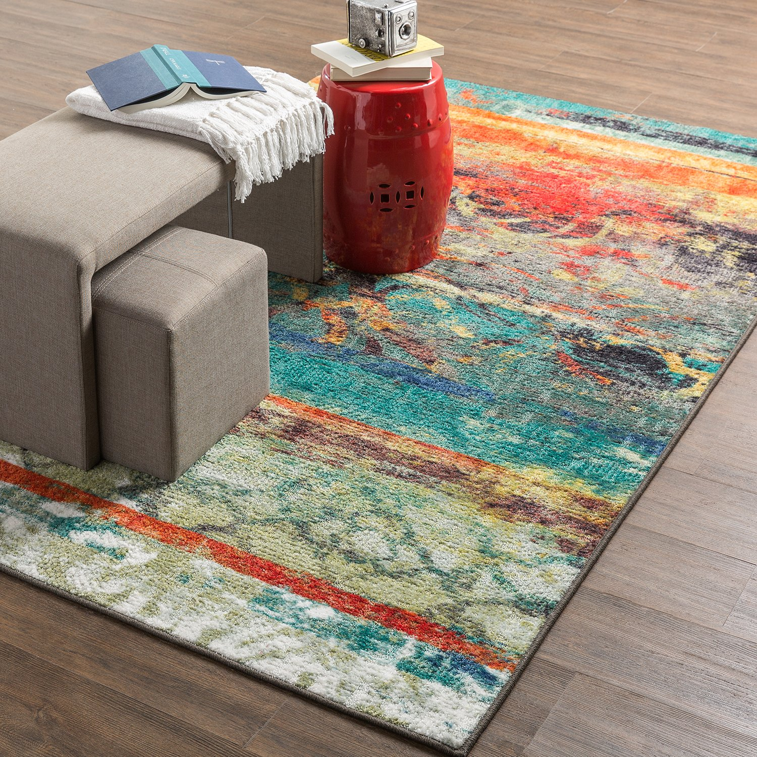 Amazon.com: Mohawk Home Strata Eroded Distressed Abstract Printed Area Rug,  7u00276x10u0027, Multicolor: Kitchen U0026 Dining
