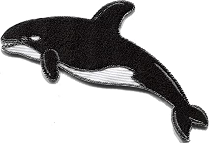 Killer whale orca fish blackfish embroidered applique iron-on patch S-1327